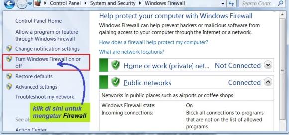 b13. non aktifkan firewall