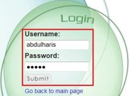 h3. login user student